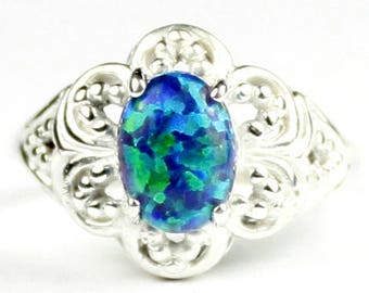 Blue Green Opal Ring Etsy