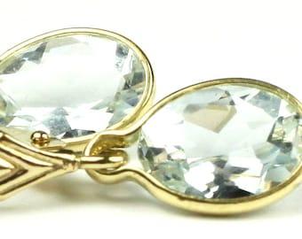 Aquamarine, 14KY Gold Leverback Earrings, E001