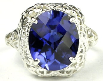 Created Blue Sapphire, 925 Sterling Silver Antique Style Filigree Ladies Ring, SR009