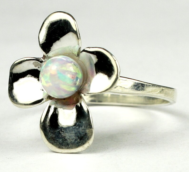 925 Sterling Silver Dogwood Ring Created White Opal SR315