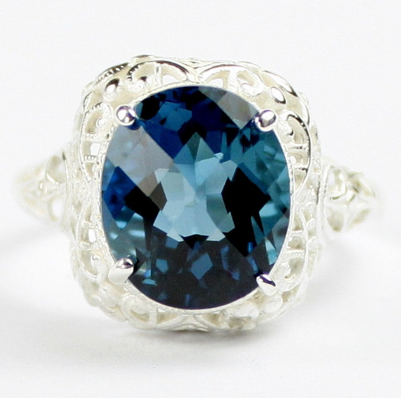 London Blue Topaz SR009 925 Sterling Silver Antique Style Filigree Ladies Ring