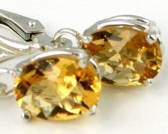 Citrine, 925 Sterling Silver Leverbacks Earrings, SE007