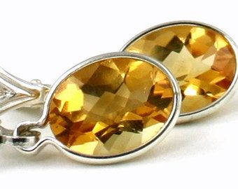 Citrine, 925 Sterling Silver Leverbacks Earrings, SE001