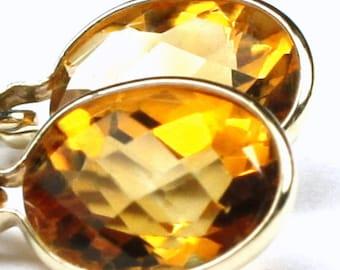 Citrine, 14KY Gold Leverback Earrings, E001