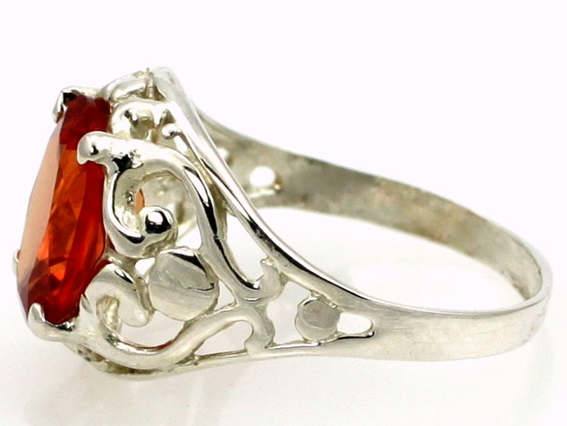 Sterling Silver Ring Created Padparadscha Sapphire SR004