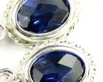 Created Blue Sapphire, 925 Sterling Silver Leverback Rope Earrings, SE006