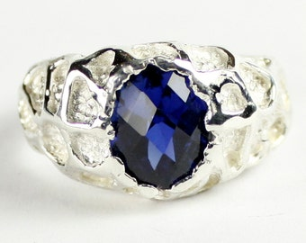 Created Blue Sapphire , 925 Sterling Silver Men's Ring, SR168