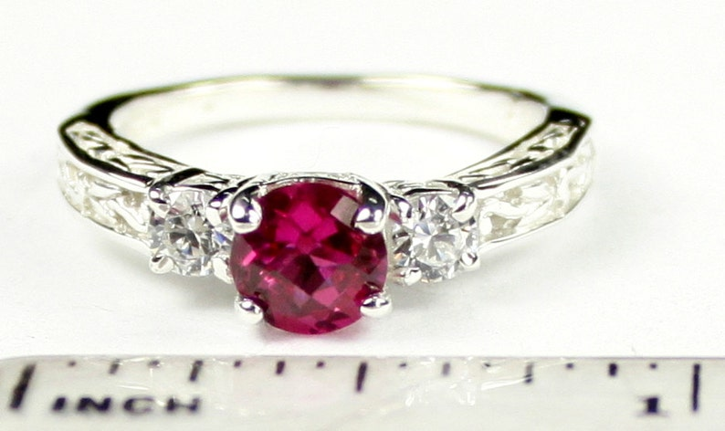 Created Ruby w Two 4mm CZ Accents SR254 925 Sterling Silver Engagement Ring