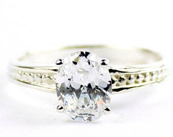Cubic Zirconia, 925 Sterling Silver Ladies Engagement Ring, SR371