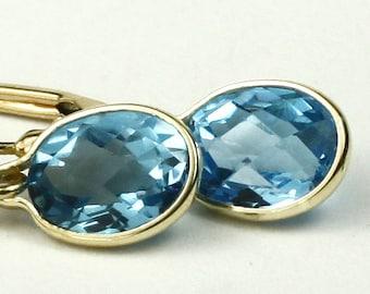 Swiss Blue Topaz, 14KY Gold Leverback Earrings, E001