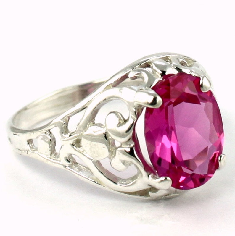 925 Sterling Silver Ring Created Pink Sapphire SR004