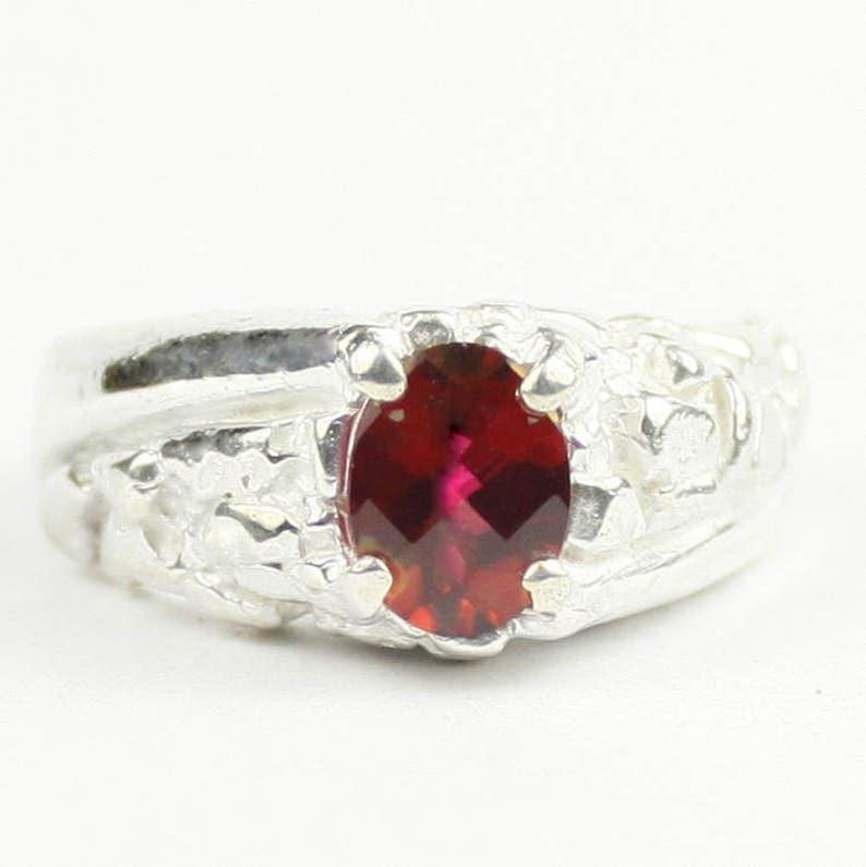 Crimson Fire Topaz SR368 925 Sterling Silver Men/'s Ring