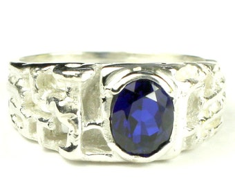 Created Blue Sapphire, 925 Sterling Silver Men's Ring, SR197
