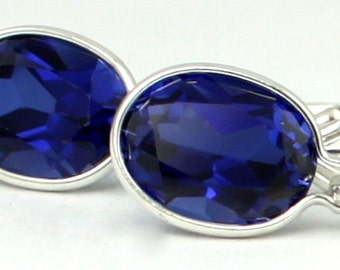 Created Blue Sapphire, 925 Sterling Silver Leverback Earrings, SE001