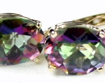 Mystic Fire Topaz, 14KY Gold Leverback Earrings, E007