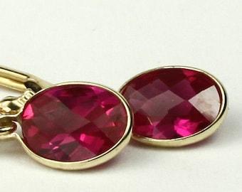 Created Ruby, 14KY Gold Leverback Earrings, E001