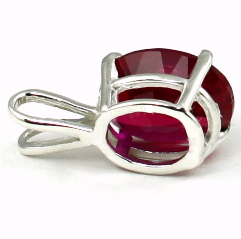 SP002 925 Sterling Silver Pendant Created Ruby