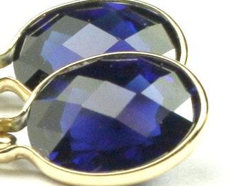Created Blue Sapphire, 14KY Gold Leverback Earrings, E001