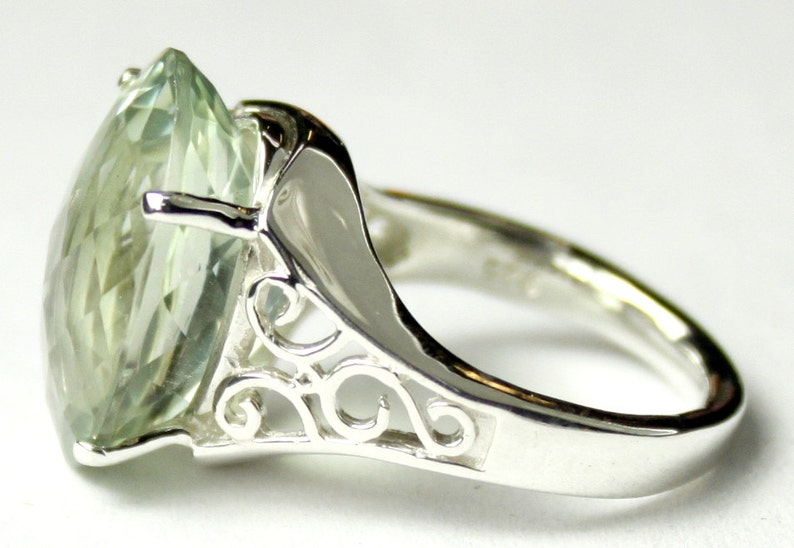 SR049 Green Amethyst 925 Sterling Silver Ladies Ring