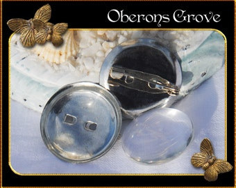 10 silver brooch settings with 20mm cabochons