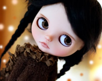 "Pure MOHAIR WIG 10-11"" Black long braids for dolls : Blythe et Neo Blythe Custom, American Girl ..."