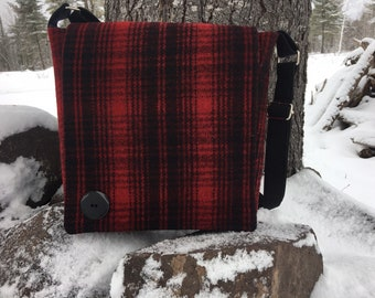 Steely Gray and Garnet Recycled Silk and Felted Wool Cross Body Messenger Bag handmade in USA