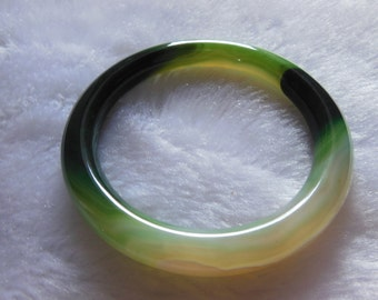 Free Delivery Natural white green jadeite jade charm luck round bracelet bangle