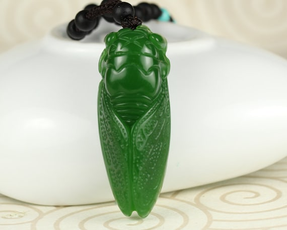 Free Delivery Natural AAA blue lapis lazuli carved Cicada luck pendant necklace