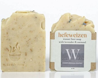 Hefeweizen Wasser Beer Soap with Lavender and Oatmeal. Craft Beer Soap. Gifts for Men.