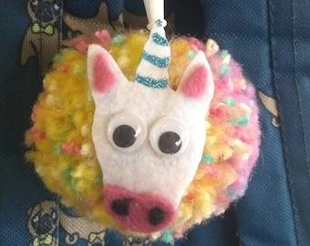 Unicorn pompom keyring bag charm handmade - custom  animals  available