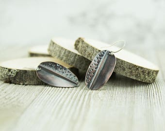 Rustic copper leaf earrings, patina, handcrafted, fold formed jewelry, nickel free