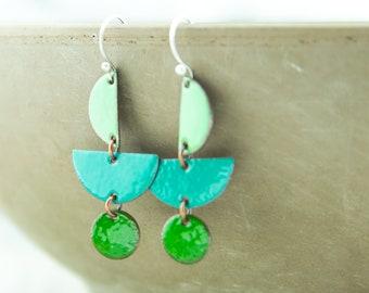 Geometric enamel earrings, shades of green, copper dangles, handcrafted, nickel free jewelry