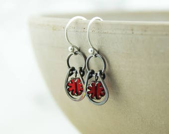 Copper horse shoe earrings, hammered patina, red flower Czech glass beads, handmade, sterling silver ear wires, nickel free jewelry