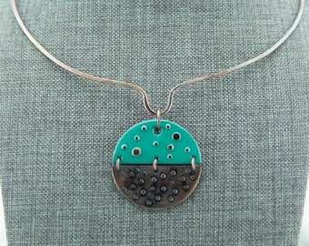 Copper enamel circle pendant, teal enamel, rustic textured copper, embedded copper accents,nickel free jewelry