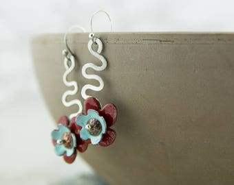 Sterling silver and enamel copper flower earrings, entirely handcrafted, nickel free