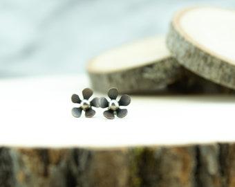 Copper and silver flower earrings, sterling silver, patina, post earrings, nickel free jewelry