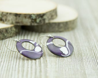 Purple and white copper enamel disc earrings, hand crafted, sterling silver ear wires, nickel free