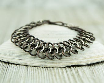 Copper and sterling silver figure eight chain bracelet, dark patina, handcrafted, nickel free