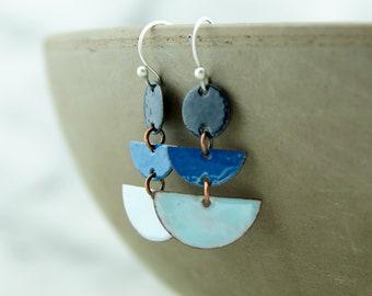 Blue enamel copper earrings, geometric shapes, ombre colors, dangle earrings, nickel free jewelry