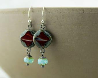 Copper wire wrap earrings, red and light blue Czech glass bead, bead dangles, cross earrings, handmade, nickel free jewelry