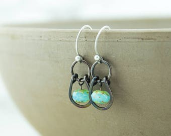 Copper earrings, hammered patina, blue Czech glass beads, handmade, sterling silver ear wires, nickel free jewelry