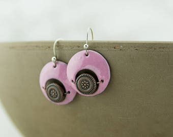 Pink and copper enamel disc earrings, hand crafted, sterling silver ear wires, nickel free