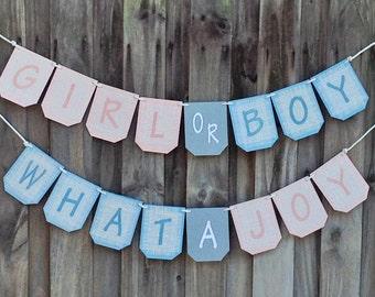 Burlap GIRL OR BOY banner, baby shower banner, gender reveal banner,  burlap baby shower decorations,  pink and blue shower decor,
