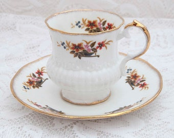 Elizabethan Fine Bone China Teacup and Saucer, Floral Bowl, Made in England