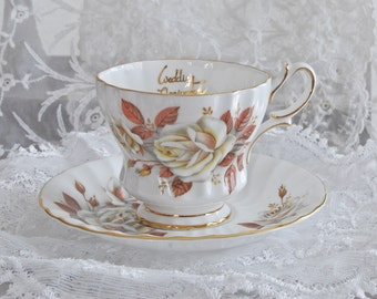 """Queen Anne Vintage Tea Cup and Saucer """"Autumn Rose"""" Wedding Anniversary Bone China Gold Trim Made in England"""