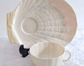 Scarce Belleek Snack Set, Tea Cup and Plate, Ivory and Yellow, Tridacna Form, No Trim, Made in Ireland
