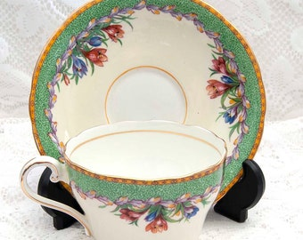 Aynsley Crocus Floral Teacup and Saucer, Bone China,Green Border, Gold Trim, Vintage, Made in England
