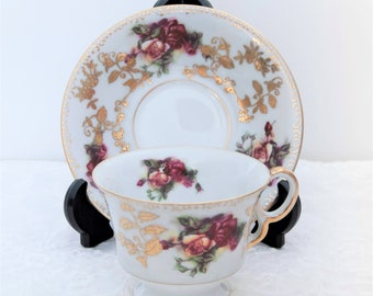 Royal Sealy China Teacup-Saucer, Red Roses, Gold Leaves and Trim, White Background, Vintage, Japan