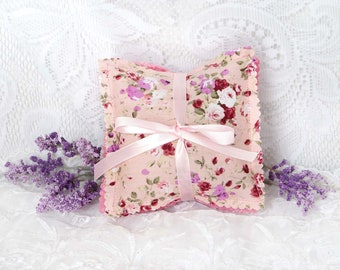 French Lavender Sachets, Roses and Pink Floral Prints, Set of 3, Handmade
