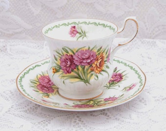 Queen's January Carnation Teacup / Saucer, Special Flowers Series, Fine Bone China, Rosina China Ltd., England, 1960's